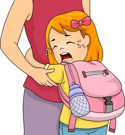escuela caricatura: Ilustración de una niña Crying Out Loud mientras se aferra a su mamá Vectores