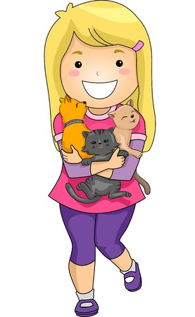 animal lover: Illustration Featuring a Little Girl Hugging a Bunch of Kittens  Illustration