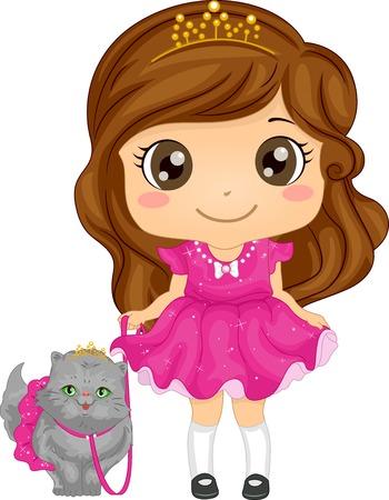 Illustratie van een schattig meisje, gekleed als een prinses met haar Perzische kat voor een wandeling