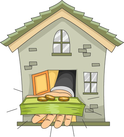 Illustration Featuring a Hand Extending Money from the Door of a House Vector