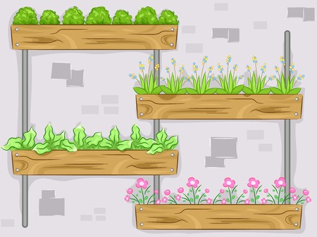 vertical garden: Illustration Featuring a Vertical Garden Composed of Ornamental Plants