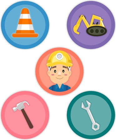 Illustration Featuring Different Construction Tools and Equipment Vector
