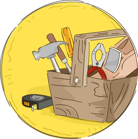 woodcraft: Icon Illustration Featuring a Tool Box Full of Different Tools Illustration