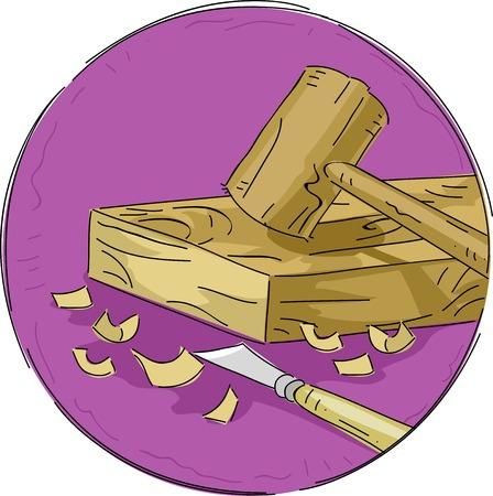 tallado en madera: Icono Ilustración con materiales para trabajar la madera Vectores