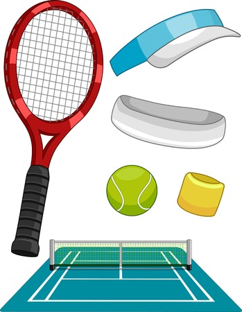 tennis racquet: Illustration Featuring Different Lawn Tennis Items