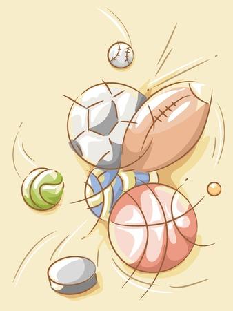 Illustration Featuring Balls Designed with Random Strokes Vector