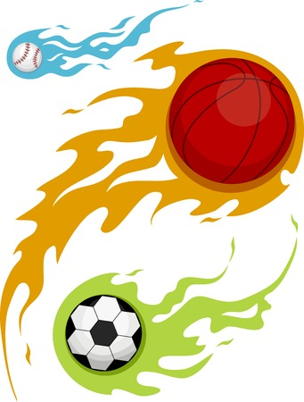 basketball ball on fire: Illustration Featuring Balls Covered in Flames
