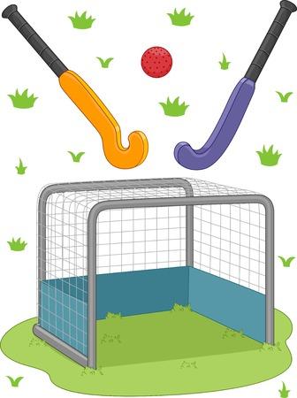 Illustration Featuring Field Hockey Equipment Vector