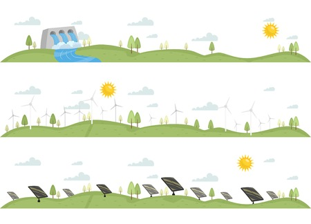 Header Illustration Featuring Renewable Sources of Energy Vector