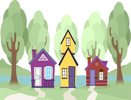 diminuto: Ilustraci�n con Tiny Houses lindas
