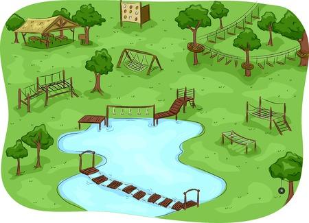 Illustrazione Dotato di un campo con un percorso a ostacoli