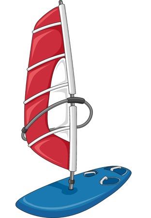 windsurf: Ilustración que ofrece un rojo y azul Sailboard Vectores