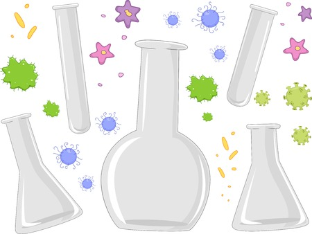 Illustration of Different Laboratory Apparatuses Surrounded by Bacteria Vector