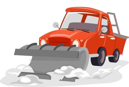 arando: Ilustración con un arado de nieve Arando a través de nieve Vectores