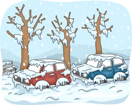 雪の嵐の後の通りで立ち往生している車をフィーチャーの図