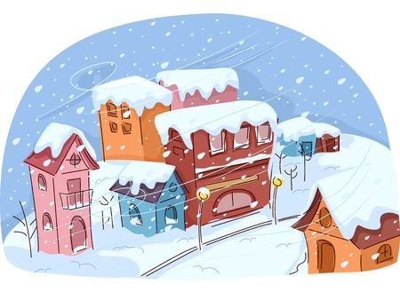 雪嵐の中の小さな町苦しみのイラスト  イラスト・ベクター素材