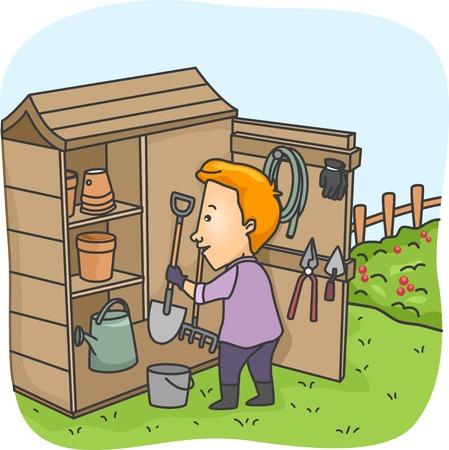 Illustratie van een Man om Tuingereedschap in Zijn Tool Shed Vector Illustratie