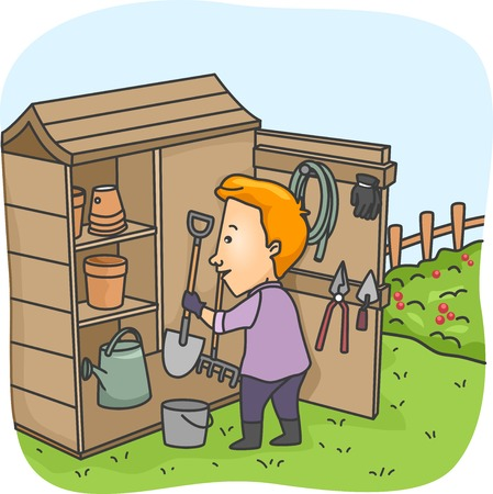 Illustration of a Man Putting Garden Tools in His Tool Shed Vector