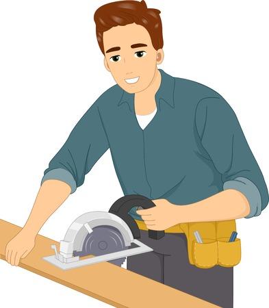 Illustration of a Man Using a Circular Saw Illustration