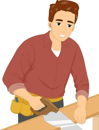 carpentry cartoon: Illustration of a Man Cutting a Piece of Wood with a Hand Saw