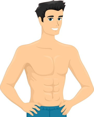 buff: Illustration of a Man Showing His Sick-Pack Abs