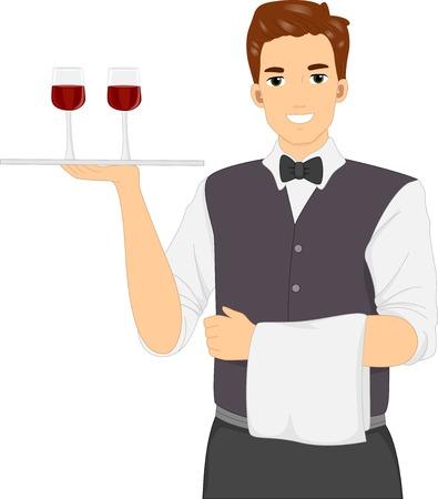 masculino: Ilustración de un camarero masculino que lleva una celebración de vasos de vino Vino Bandeja