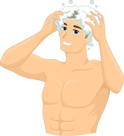 shampooing: Illustration of a Man Shampooing His Head