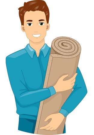 insulation: Illustration of a Man Holding a Roll of Insulation Foam