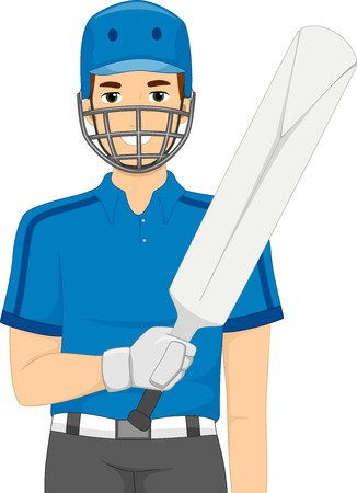 cricket game: Illustration of a Man Dressed as a Cricket Batter