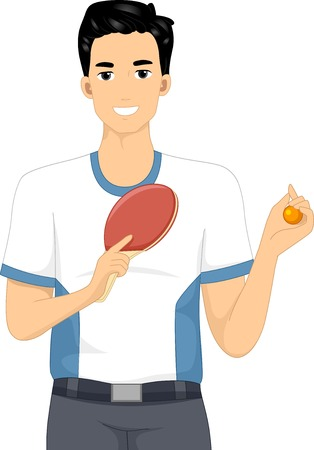 Illustration of a Table Tennis Player Holding a Ball and Paddle Vector