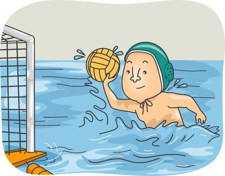 waterpolo: Ilustración de un chico que juega Waterpolo Vectores