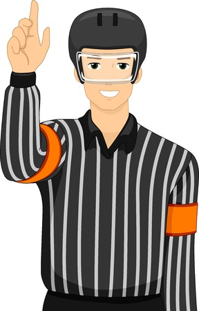 an umpire: Illustration of a Man Dressed as an Ice Hockey Umpire Illustration