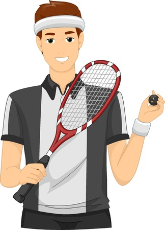 cartoon adult: Illustration of a Man Dressed as a Squash Player Illustration