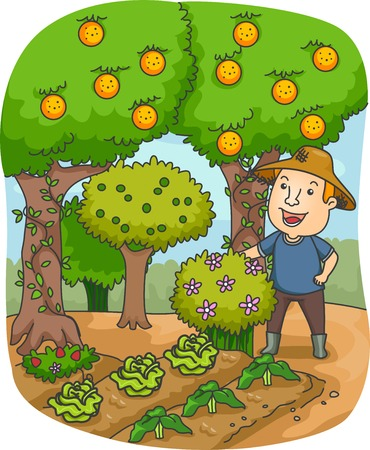 orchard fruit: Illustration of a Farmer in an Orchard Gazing at His Crops