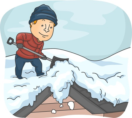 shovels: Illustration of a Man Shoveling Snow from His Roof