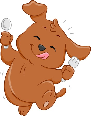 featuring: Mascot Illustration Featuring a Hungry Dog Holding a Spoon and Fork