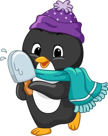 frozen treat: Illustration of a Penguin Holding an ice cream