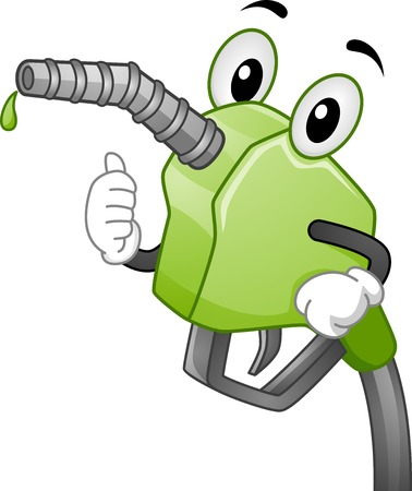 Mascot Illustration Featuring a Gasoline Pump Handle Pumping Biofuel Illustration