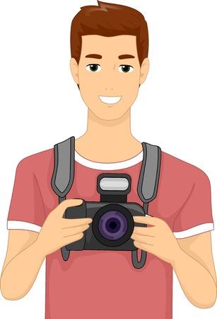 dslr camera: Illustration of a Man Holding a DSLR Camera Illustration