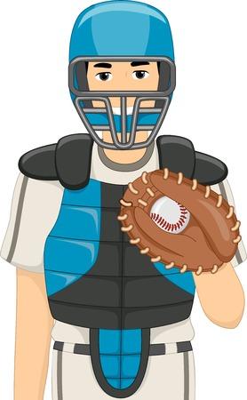 catcher baseball: Illustration d'un homme habill� en Catcher Baseball