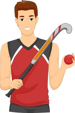 hockey sobre cesped: Ilustración de un hombre vestido como un jugador de hockey de campo