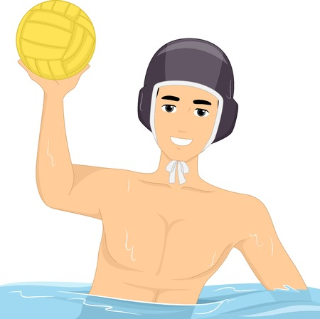 water polo: Illustration of a Guy Playing Water Polo