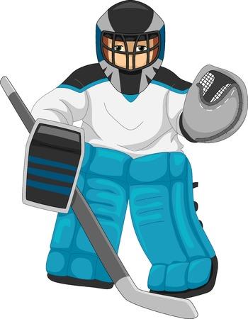 Ilustracja mężczyzna ubrany jako Ice Hockey Goalie