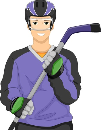 ice hockey player: Illustration of a Man Dressed as an Ice Hockey Player