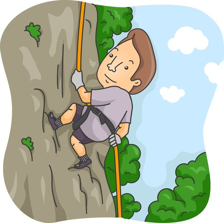 rappelling: Illustration of a Man Rappelling Down a Cliff
