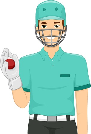 wicket: Illustration of a Man Dressed as a Wicket Keeper