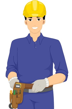 Illustration of a Man Dressed as an Electrician Vector