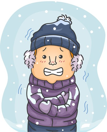 Illustration of a Man in Winter Clothes Shivering Hard Because of the Cold Vector