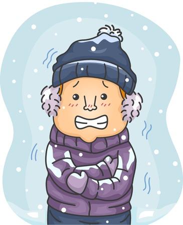 frio: Ilustración de un hombre en ropa de invierno duro Temblando por el frío
