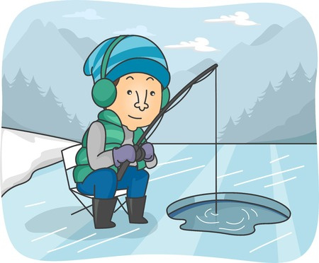 ice fishing: Ilustraci�n de un hombre pesca en un r�o congelado